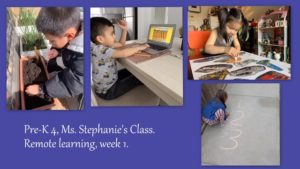 PreK 4 students at work during remote learning