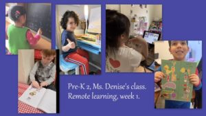 Pre K 2 students at work during remote learning