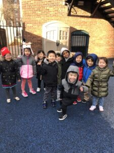 students outside at play