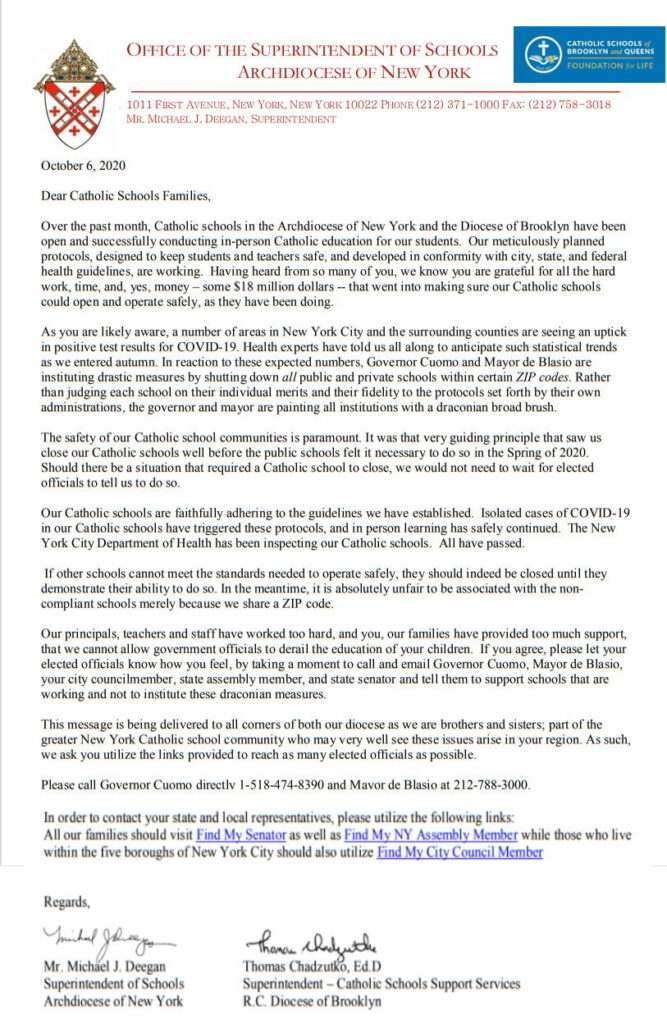 Letter from Diocese of Brooklyn and Archdiocese of New York concerning Covid and School Closures