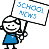 "clipart of girl holding sign saying ""School News"""