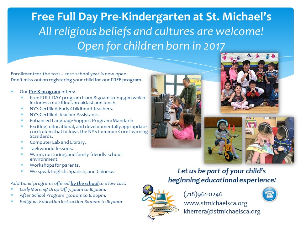 Back of PreK Flyer with information in English