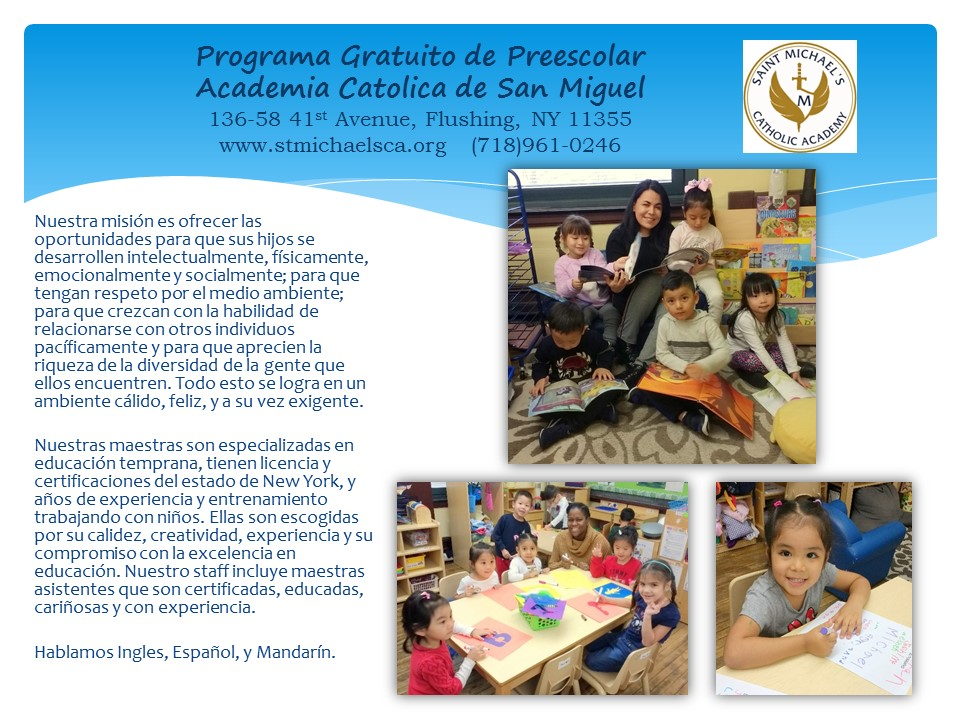 Front of PreK Flyer with information in Spanish