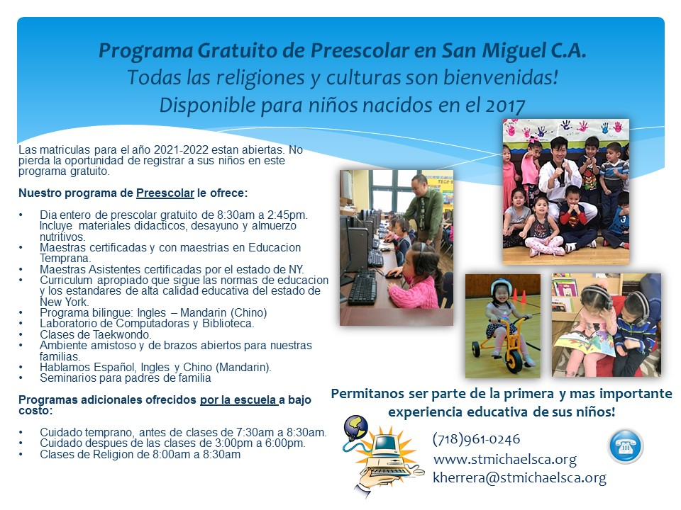 Back of PreK Flyer with information in Spanish